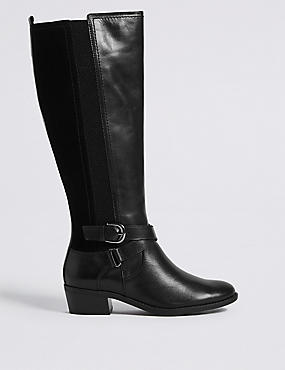 Leather Block Heel Strap Knee High Boots