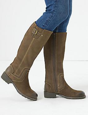 Leather Block Heel Side Zip Knee High Boots, CHOCOLATE, catlanding