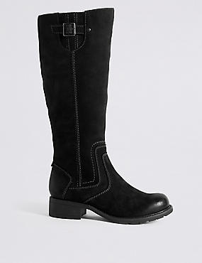 Wide Fit Suede Block Heel Knee Boots