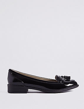 Wide Fit Leather Block Heel Tassel Loafers