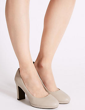 Wide Fit Leather Block Heel Court Shoes, BLUSH, catlanding