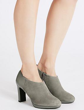 Wide Fit Suede Block Heel Shoe Boots, GREY MIX, catlanding