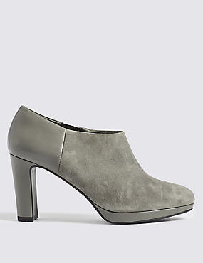 Wide Fit Leather Block Heel Shoe Boots