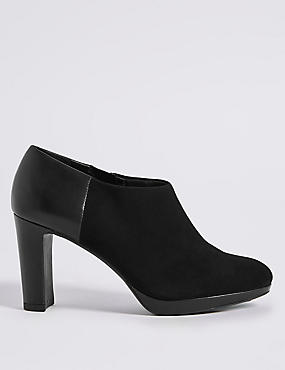 Wide Fit Suede Block Heel Shoe Boots