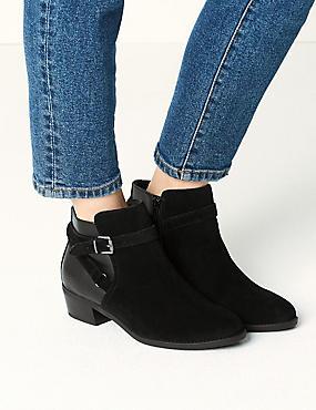Wide Fit Suede Block Heel Ankle Boots, BLACK MIX, catlanding
