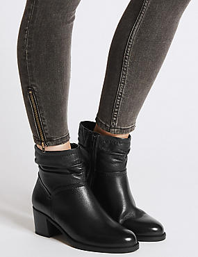 Wide Fit Leather Ruched Ankle Boots, BLACK, catlanding
