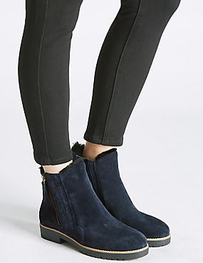 Wide Fit Leather Side Zip Fur Ankle Boots