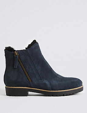 Wide Fit Suede Side Zip Fur Ankle Boots