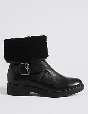 Wide Fit Leather Faux Fur Ankle Boots