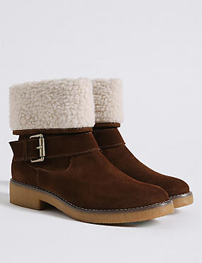 Wide Fit Suede Block Heel Fur Ankle Boots
