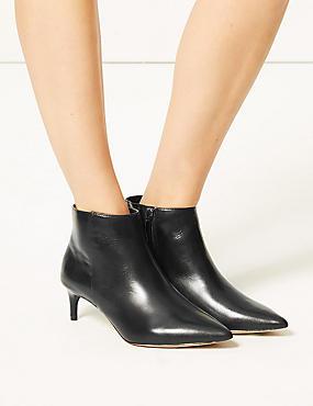 Wide Fit Leather Kitten Heel Ankle Boots, BLACK, catlanding