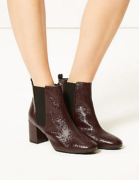 Wide Fit Patent Leather Chelsea Ankle Boots, WINE, catlanding