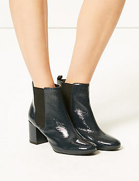 Wide Fit Patent Leather Chelsea Ankle Boots, TEAL, catlanding