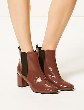 Wide Fit Patent Leather Chelsea Ankle Boots, CHESTNUT, catlanding