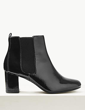 Wide Fit Patent Leather Chelsea Ankle Boots, BLACK, catlanding