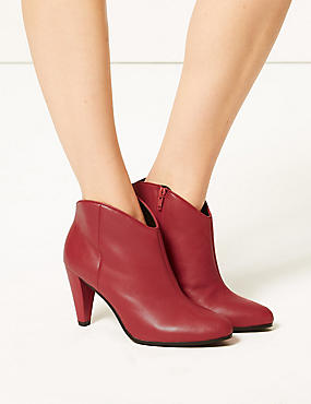 Leather Wide Fit Ankle Boots, RED, catlanding