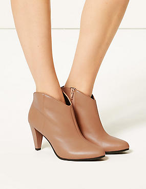 Leather Wide Fit Ankle Boots, BISCUIT, catlanding
