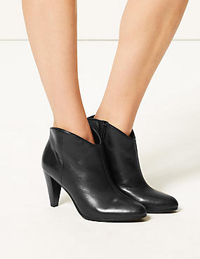Leather Wide Fit Ankle Boots, BLACK, catlanding
