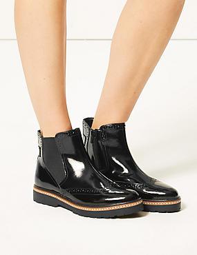 Leather Wide Fit Chelsea Brogues, BLACK PATENT, catlanding