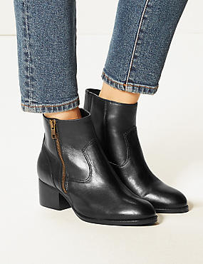 Wide Fit Leather Block Heel Ankle Boots, BLACK, catlanding