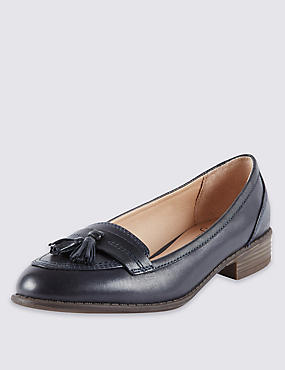 Wide Fit Leather Tassel Loafers