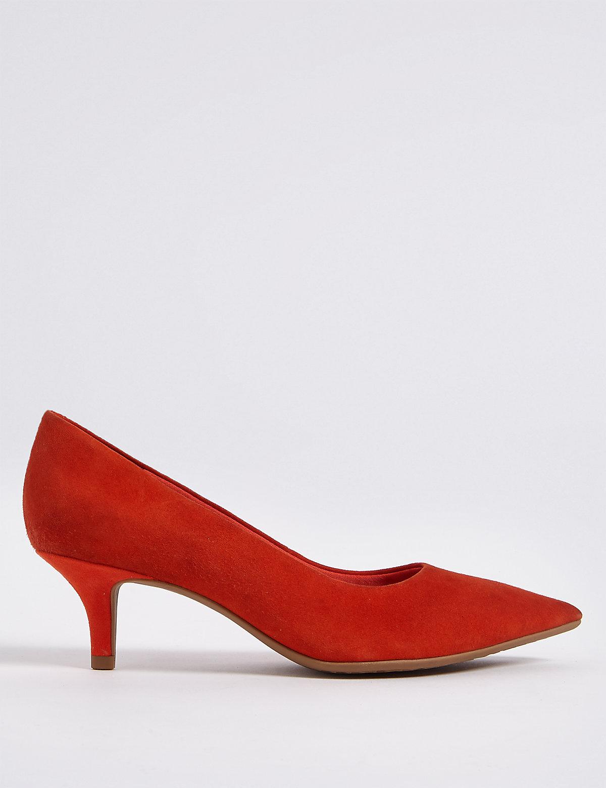 Suede Kitten Heel Court Shoes