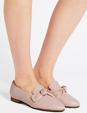 Wide Fit Leather Knot Pumps, BLUSH, catlanding