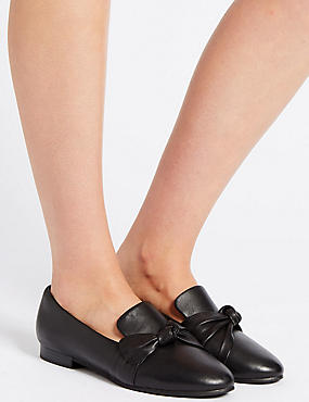 Wide Fit Leather Knot Pumps, BLACK, catlanding
