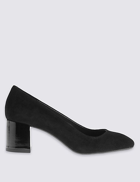Suede Block Heel Square Toe Court Shoes