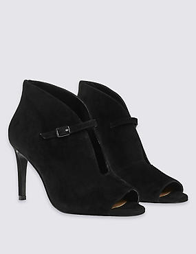 Stain Away™ Suede Peep Toe Shoe Boots with Insolia®