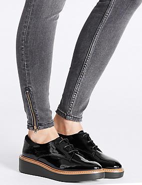 Leather Flatform Brogue Shoes, BLACK, catlanding
