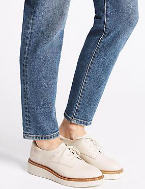 Leather Flatform Brogue Shoes, WHITE, catlanding
