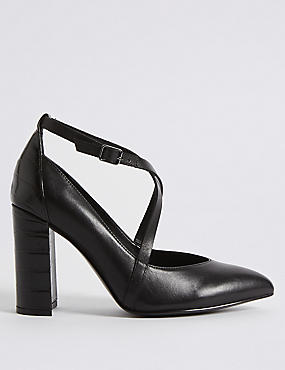 Suede Block Heel Cross Strap Court Shoes