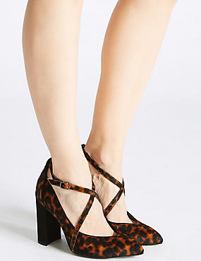 Leather Block Heel Cross Strap Court Shoes