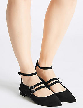 Leather Strap Pump Shoes