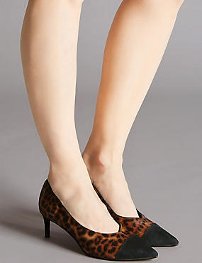 Leather Kitten Heel V-Cut Court Shoes