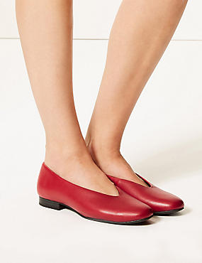 Leather High Cut Ballerina Pumps, BRIGHT RED, catlanding
