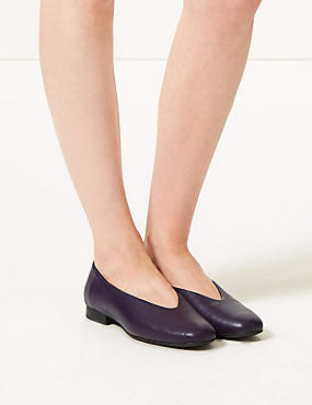 Leather High Cut Ballerina Pumps, PURPLE, catlanding