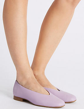 Leather High Cut Ballerina Pumps, LILAC, catlanding