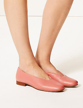 Leather High Cut Ballerina Pumps, ROSE, catlanding