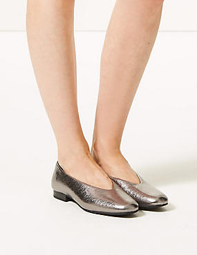 Leather High Cut Ballerina Pumps, PEWTER, catlanding