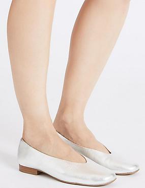 Leather High Cut Ballerina Pumps, SILVER, catlanding