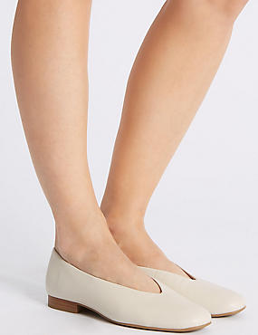 Leather High Cut Ballerina Pumps, WHITE, catlanding
