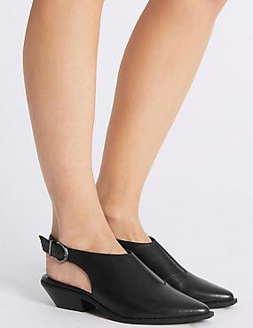 Leather Block Heel Slingback Shoes, BLACK, catlanding