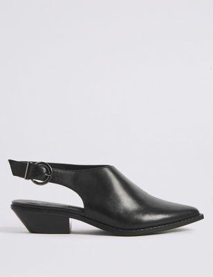 Leather Block Heel Slingback Shoes by Marks & Spencer