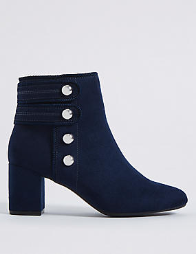Wide Fit Block Heel Four Button Ankle Boots