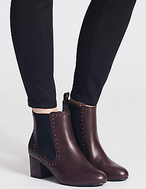 Wide Fit Block Heel Stud Detail Ankle Boots