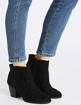 Wide Fit Block Heel Stitched Ankle Boots