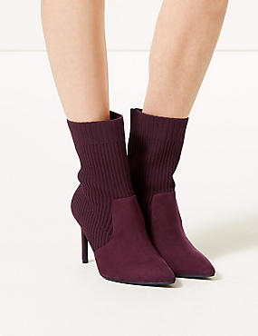 Wide Fit Stiletto Heel Ankle Boots, BURGUNDY, catlanding