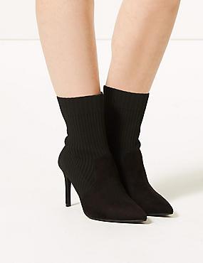 Wide Fit Stiletto Heel Ankle Boots, BLACK, catlanding
